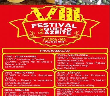 Programação do VIII Festival do Queijo e do Azeite de Alagoa – MG